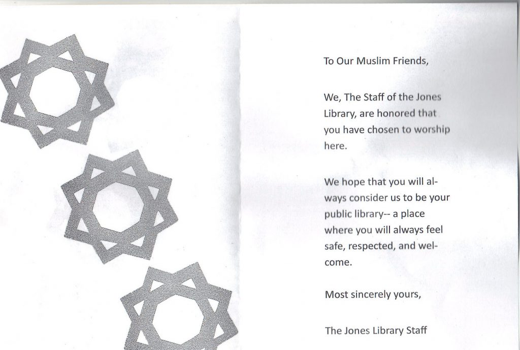 A Letter from the Jones Library